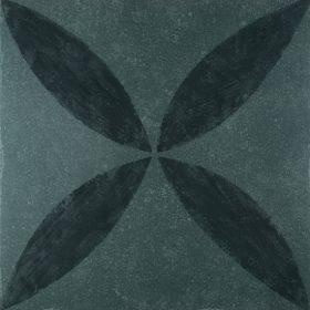 VT Wonen D&J flower black 60x60cm vloertegel