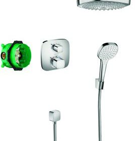 Hansgrohe Croma Select E showerset compleet met ecostat e thermostaat chroom 27294000
