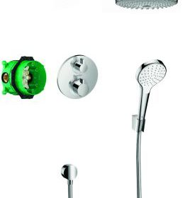 Hansgrohe Croma Select S showerset compleet met ecostat s thermostaat chroom 27295000