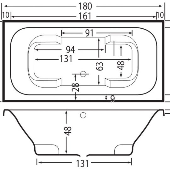 01-beterbad-tanga-inbouw-duobad-wit-acryl-6920a-01-lijntekening