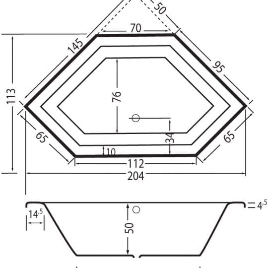 01-beterbad-society-inbouw-hoekbad-wit-acryl-6860a-01-lijntekening