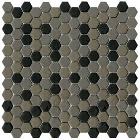 L'Antic colonial Glaze hexagon greys/black matt 30,2x30cm mozaïek