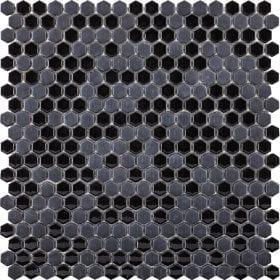 L'Antic colonial Glaze mini hexagon black 29,5x30cm mozaïek