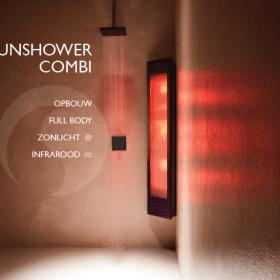 Sunshower combi black UV/infra-rood paneel voor onder de douche, opbouw