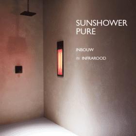 Sunshower Pure black infra-rood paneel voor onder douche, inbouw