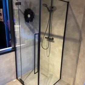 Rowe Stilo douchecabine 90x90cm, zwart profiel, helder glas, SHOWROOMMODEL